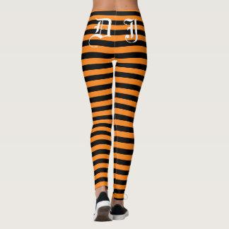 Custom black and orange Halloween party leggings