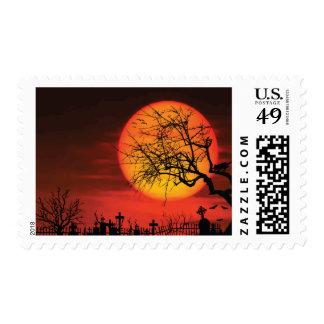 Custom Black And Orange Halloween Stamps At Night
