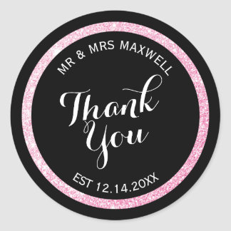 Custom Black and Pink Glitter Thank You Classic Round Sticker