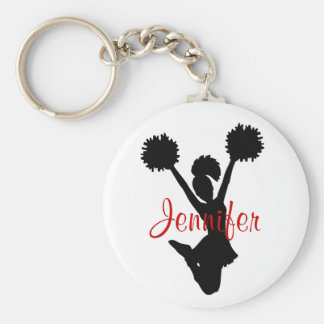 Custom Black and Red Cheerleader Key Chain