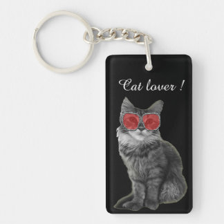 Custom black and white cat with red glasses keychain