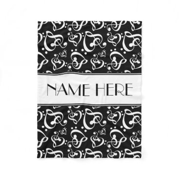 Valentines Themed Custom Black And White Clef Hearts Music Notes Fleece Blanket