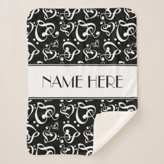 Custom Black And White Clef Hearts Music Notes Sherpa Blanket