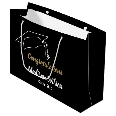Custom Black and White Congratulations Large Gift Bag