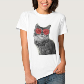 Custom black and white fashion cat with glasses t-shirt