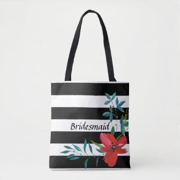 Wedding Themed Custom Black and White Floral Bridesmaid Tote Bag