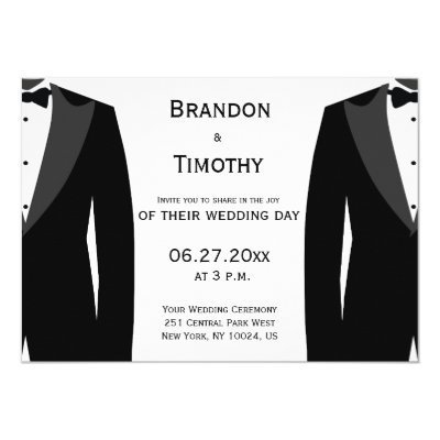 Shop Gay Wedding Invitation Two Grooms Silhouettes created by beckynimoy. Personalize it with photos & text or purchase as is!
