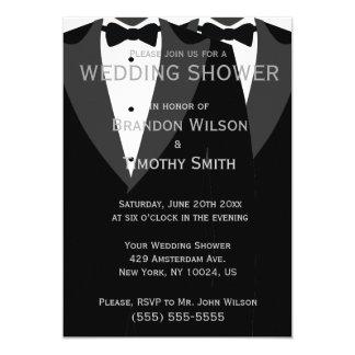 Custom Black And White Gay Wedding Shower Invites