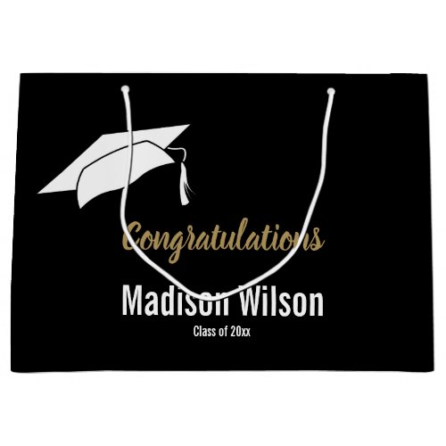 Custom Black and White Graduation Congratulations Large Gift Bag