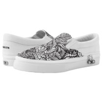 Custom black and white hand drawn floral pattern Slip-On sneakers