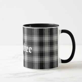 Custom Black and White Macphee Tartan Plaid Mug