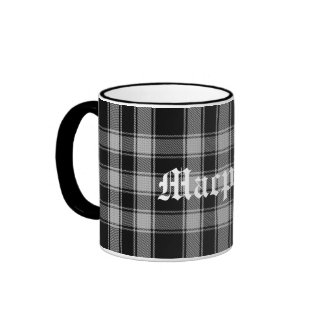 Custom Black and White Macphee Tartan Plaid Ringer Coffee Mug