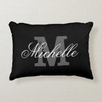 Custom black and white monogram accent pillow