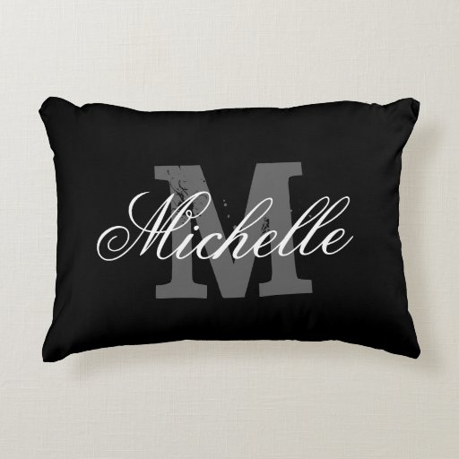 Custom black and white monogram accent pillow