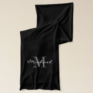 Custom black and white monogrammed name scarves