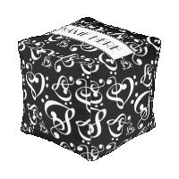 Custom Black And White Music Pattern Cube Pouf