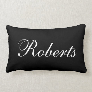 Custom Black and White Name Throw Pillow