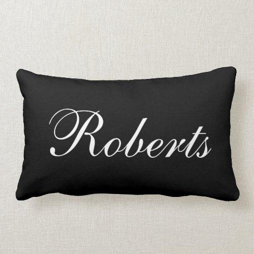 Custom Black and White Name Throw Pillow