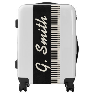 Custom Black and White Piano Keyboard. Add Name. Luggage