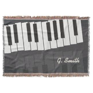Custom Black and White Piano Keyboard. Add Name. Throw Blanket