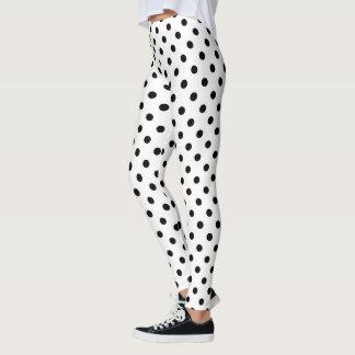 Custom black and white polkadots pattern leggings
