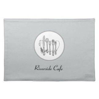 Custom Black and White Silverware Design Placemat