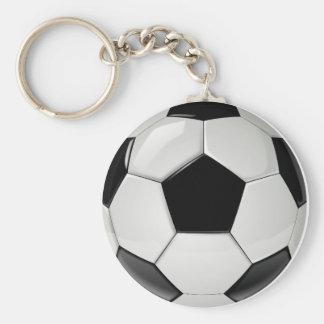 Custom Black and White Soccer Ball Basic Round Button Keychain