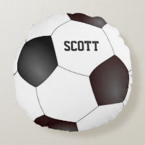 Custom Black and White Soccer Ball Pillow