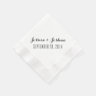 Custom Black and White Wedding Napkins Paper Napkins