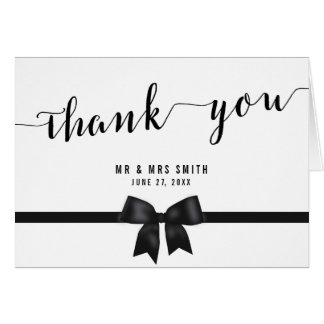 Custom Black And White Wedding Thank You Cards