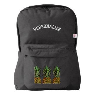Custom black backpack with pineapple fruit design