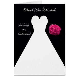 Custom Black Bridesmaid Thank You Card