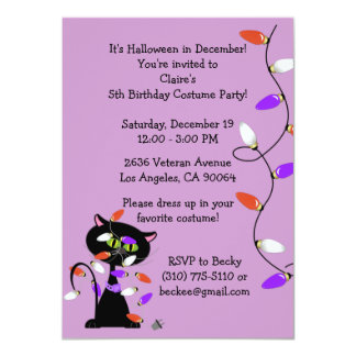 Custom Black Cat Birthday Party Invitation