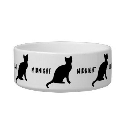 Custom Black Cat Cat Food Bowls