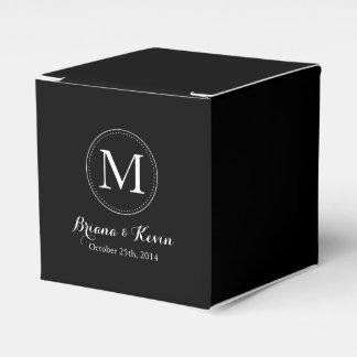 Custom Black Colored Monogram Favor Boxes