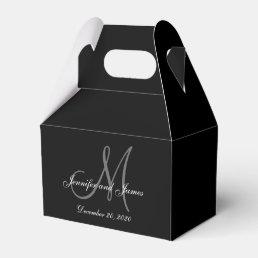 Custom Black Colored Monogram Wedding Favor Box