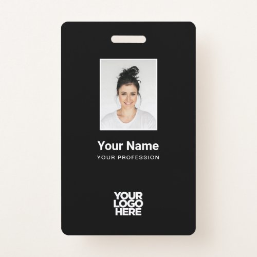 Custom Black Employee Photo, Bar Code, Logo, Name Badge