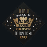 """Custom Black Faux Gold Glitter Crown Graduation Cap Topper<br><div class=""""desc"""">Congratulations on your success! You can easily change the year on this custom faux gold,  white and black graduation cap topper. A fun way to celebrate and march in style.</div>"""