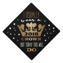Custom Black Faux Gold Glitter Crown Graduation Cap Topper