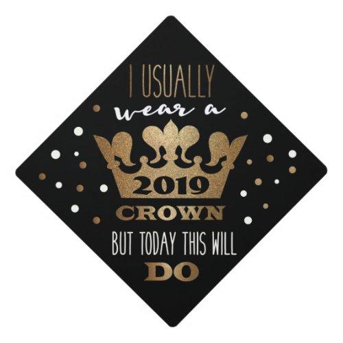 Custom Black Faux Gold Glitter Crown Graduation Graduation Cap Topper