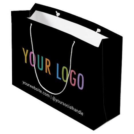 "Custom Black Gift Bag with Company Logo 12.5 x 9"""