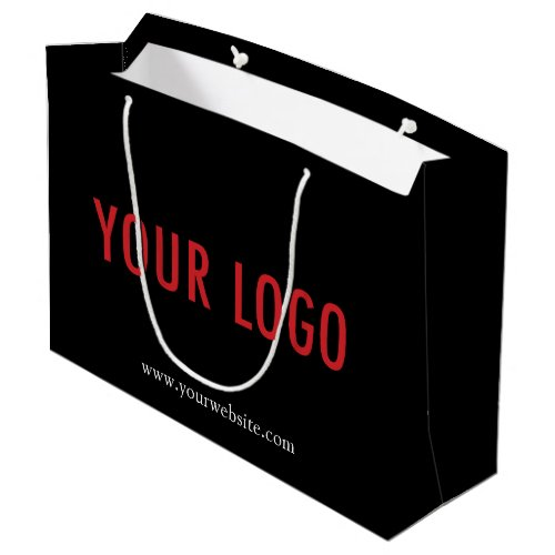 Custom Black Gift Bag with Your Company Logo Large