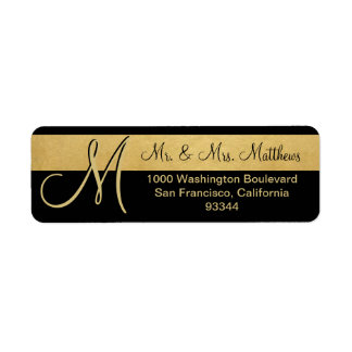 Custom Black Gold Foil Monogram Letter Return Label