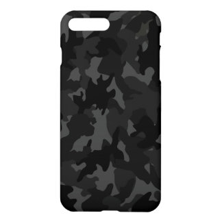 Custom Black Gray Camouflage Camo Pattern Matte iPhone 7 Plus Case