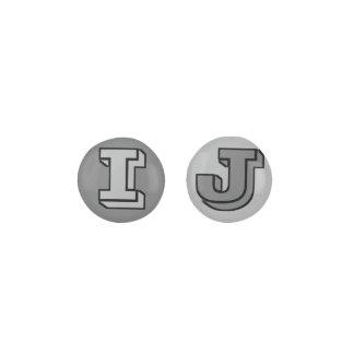 Custom BLACK+GRAY+DARK GREY INVERSE COLOR Monogram Earrings