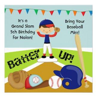 Custom Black Hair Boy Baseball Birthday Invitation