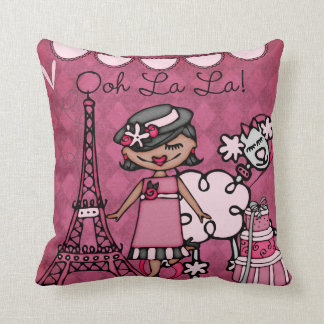 Custom Black Hair Paris Diva Pillow