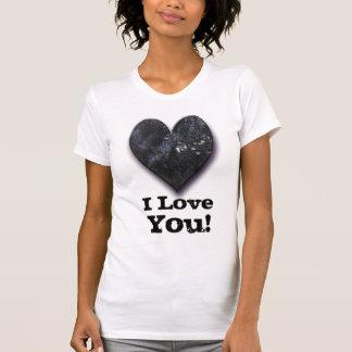 "Custom Black Heart Valentine's Day ""I Love You"" Tee Shirt"