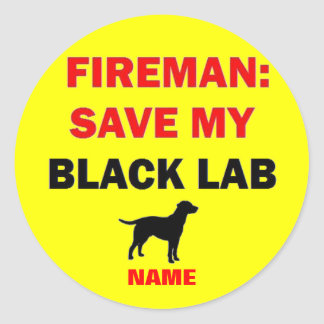 Custom Black Lab Fire Safety Round Sticker