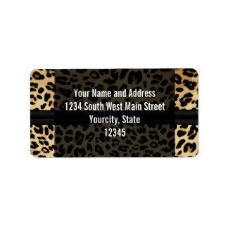 Custom Black Leopard Ribbon Jewel Girl Graduation Address Label